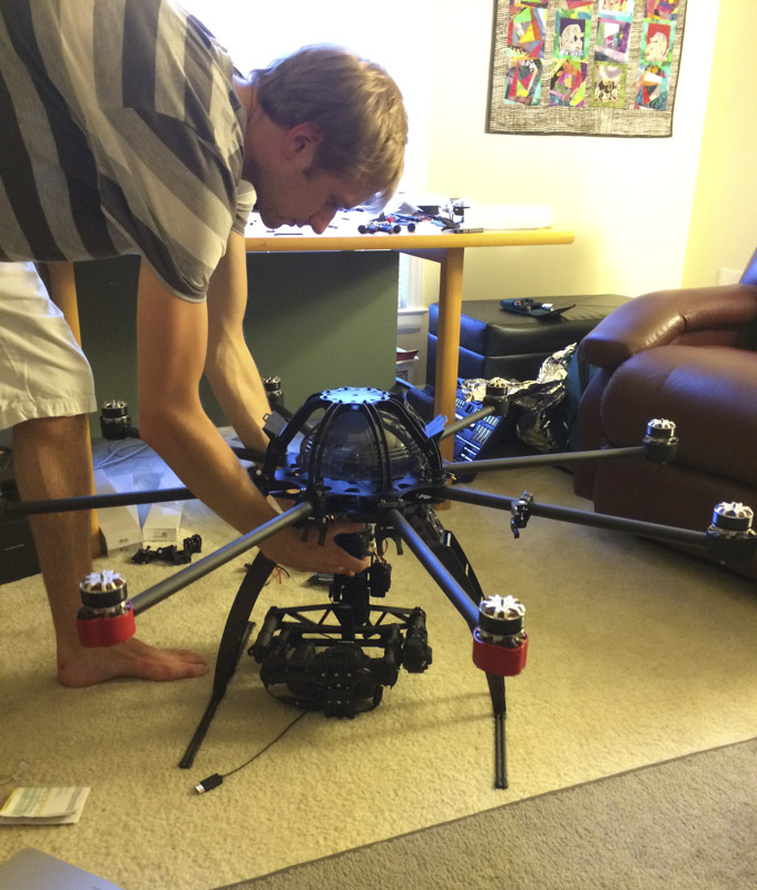 nowsay skyjib build process attaching gimbal