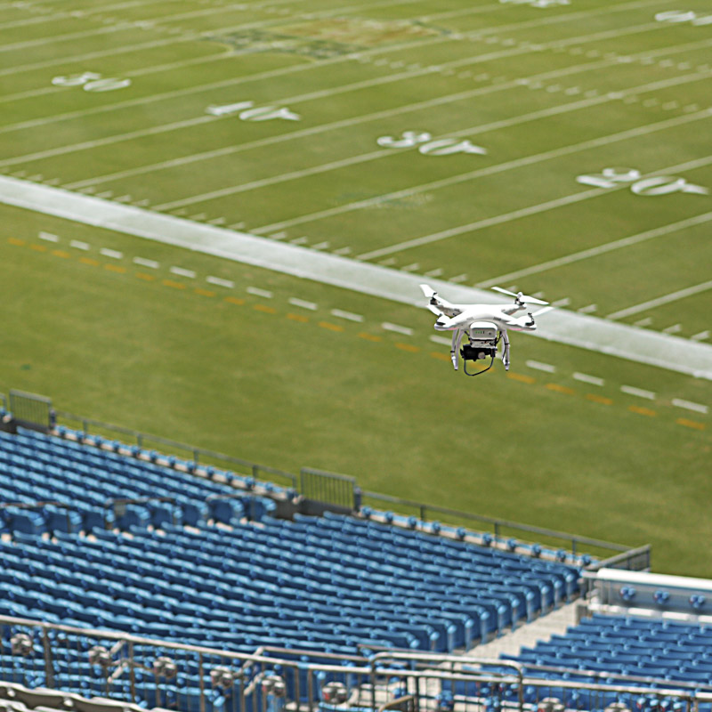 nowsay flying drone in carolina panthers stadium