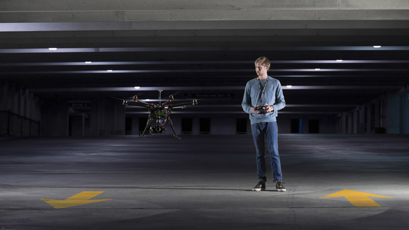 nowsay zach flying dji s900 in parking garage