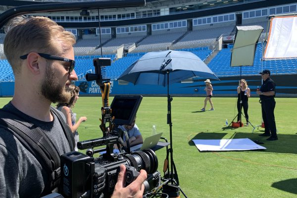 zach filming coach ron rivera of the carolina panthers with red helium and easyrig